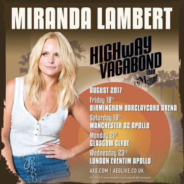 Miranda Lambert vuelve a Reino Unido este verano
